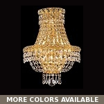 Invisible Design 3-Light 17'' Chrome or Gold Wall Sconce Dressed with European or Swarovski Crystals SKU# 30783