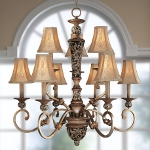 "Salon Grand Collection 9-Light 33"" Florence Patina Chandelier with Silk Shades 1559-477"