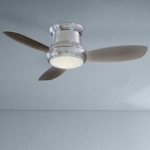 Brushed Nickel 3 Blade 44In. Flushmount Ceiling Fan - Light, Handheld Remote Control And Blades Included