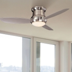 "Concept II Series 52"" Wet Location Brushed Nickel Outdoor Hugger Ceiling Fan with Light Kit F574-BNW"