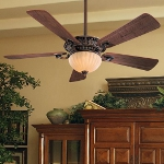 "Volterra Series 52"" Belcaro Walnut Ceiling Fan with Aged Champagne Glass Light Kit F702-BCW"