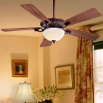 "Volterra Series 52"" Volterra Bronze Ceiling Fan with French Scavo Glass Light Kit F702-VB"