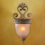 "Salon Grand Collection 1-Light 22"" Florence Patina Wall Sconce with Scavo Glass 1553-477"