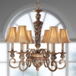 "Salon Grand Collection 6-Light 27"" Florence Patina Chandelier with Silk Shades 1556-477"
