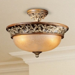 "Salon Grand Collection 3-Light 15"" Florence Patina Semi-Flush Mount with Scavo Glass 1568-477"