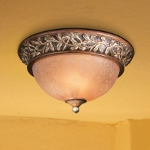 "Salon Grand Collection 2-Light 12"" Florence Patina Flush Mount with Scavo Glass 1569-477"