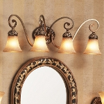 "Salon Grand Collection 4-Light 32"" Florence Patina Bath Light with Scavo Glass 5554-477"