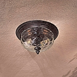 "Merrimack Collection 2-Light 13"" Bronze Outdoor Ceiling Fixture with Clear Hammered Glass 8769-166"