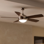 "Discus 52"" Polished Nickel Ceiling Fan with Light 5DI52PND"