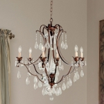 "Maison De Ville Collection 6-Light 31"" British Bronze Crystal Chandelier F1883/6BRB"