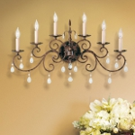 "Chateau Collection 6-Light 30"" Mocha Bronze Wall Sconce with Crystal WB1228MBZ"