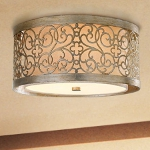 "Arabesque Collection 2-Light 14"" Silver Leaf Patina Ceiling Light FM339SLP"