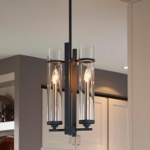 "Ethan Collection 2-Light 17"" Antique Forged Iron Mini Chandelier with Clear Cylindrical Glass P1251AF/BS"