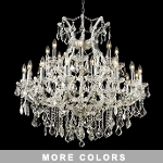"Maria Theresa 24-Light 36"" Chrome, Gold, Golden Teak, Black, or White Chandelier with Swarovski or European Crystals SKU# 10409"
