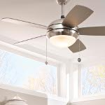 "Discus II 44"" Brushed Steel Ceiling Fan with Light 5DI44BSD"