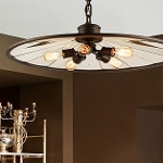 "Brooklyn Collection 5-Light 32"" Brooklyn Bronze Pendant with Natural Manila Rope and Antique Mirror Glass F3147"