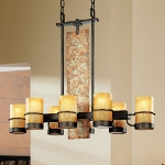"Bamboo Collection 8-Light 36"" Bronze Island Chandelier with Natural Slate F1848BB"