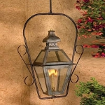 "Bayou Collection 30"" Washed Pewter Gas Hanging Lantern with Tempered Clear Glass 7920-WP"