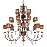 "Sanguesa Collection 22-Light 64"" Sanguesa Patina Chandelier with Vidrio Artistico Glass Shades N6069-194"