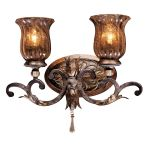 "Sanguesa Collection 2-Light 17"" Sanguesa Patina Wall Sconce with Vidrio Artistico Glass Shades N6072-194"