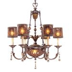 "Sanguesa Collection 8-Light 36"" Sanguesa Patina Chandelier with Vidrio Artistico Glass Shades N6076-194"