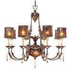 "Sanguesa Collection 10-Light 36"" Sanguesa Patina Chandelier with Vidrio Artistico Glass Shades N6078-194"