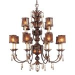 "Sanguesa Collection 14-Light 49"" Sanguesa Patina Chandelier with Vidrio Artistico Glass Shades N6079-194"