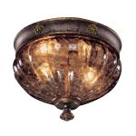 "Sanguesa Collection 2-Light 10"" Sanguesa Patina Flushmount with Vidrio Artistico Glass Shade N6080-194"