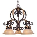 "Zaragoza Collection 5-Light 26"" Golden Bronze Chandelier with Salon Scavo Glass Shades N6231-355"