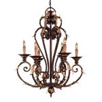"Zaragoza Collection 6-Light 34"" Golden Bronze Chandelier with Brass Accents N6235-355"