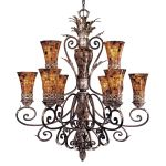"Salamanca Collection 9-Light 45"" Cattera Bronze Chandelier with Pen Shell Shades N6518-468"