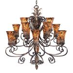 "Salamanca Collection 15-Light 48"" Cattera Bronze Chandelier with Pen Shell Shades N6519-468"
