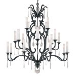 "Castellina Collection 20-Light 58"" Aged Iron Chandelier with White Iris Glass Shades N6704-254"