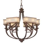 "Underscore Collection 12-Light 37"" Bronze Chandelier with Brushed Caramel Silk Glass N6957-267B"