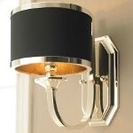 "Tuxedo 1-Light 12"" Silver Plated Metal Wall Sconce with Black Hardback Shade 22442"