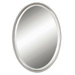 "Sherise Brushed Nickel 32"" Oval Mirror 01102B"