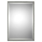 "Sherise Brushed Nickel Beaded 31"" High Rectangular Wall Mirror 01113"