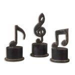 Music Notes Collection Metal Figurines, (Set of 3) 19280
