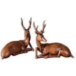 Buck Collection Wood Tone Statues, (Set of 2) 19344