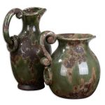 Hani Collection Forest Green Pitchers, (Set of 2) 19429