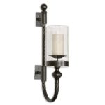 Garvin Twist Collection Metal Sconce With Candle 19476
