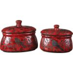 Siana Collection Red Ceramic Canisters (Set of 2) 19660