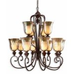 "Elba Collection 12-Light 48"" Spice Chandelier with Iridescent Crackle Glass 21048"