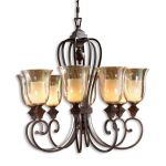 "Elba Collection 8-Light 39"" Spice Chandelier with Iridescent Crackle Glass 21049"