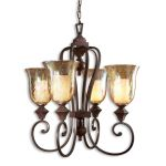 "Elba Collection 4-Light 33"" Spice Chandelier with Iridescent Crackle Glass 21050"