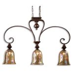 "Elba Collection 3-Light 46"" Spice Island Light with Iridescent Crackle Glass 21051"