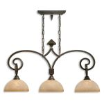 "Legato Collection 3-Light 39"" Distressed Chestnut Island Light with Indian Scavo Glass Shade 21079"