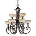 "Legato Collection 9-Light 39"" Distressed Chestnut Chandelier with Indian Scavo Glass 21081"
