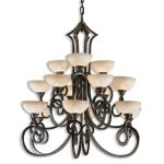 "Legato Collection 15-Light 48"" Distressed Chestnut Chandelier with Indian Scavo Glass 21082"
