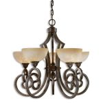 "Legato Collection 5-Light 27"" Distressed Chestnut Chandelier with Indian Scavo Glass Shade 21083"